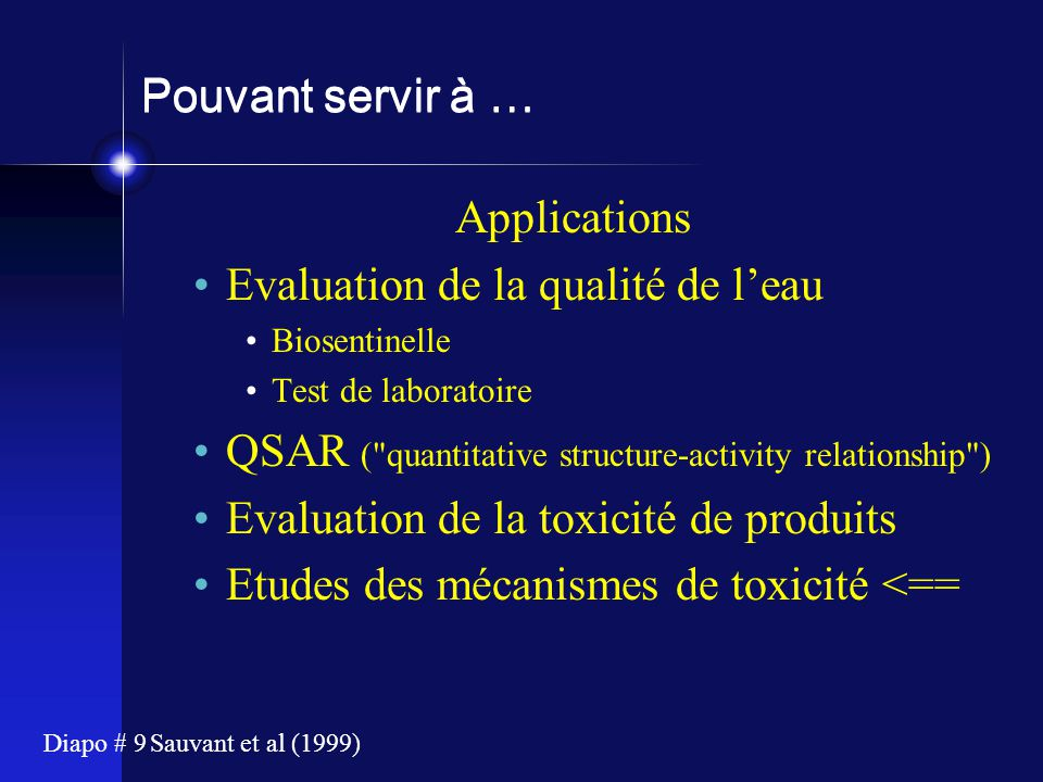 Evaluation de la qualité de l'eau