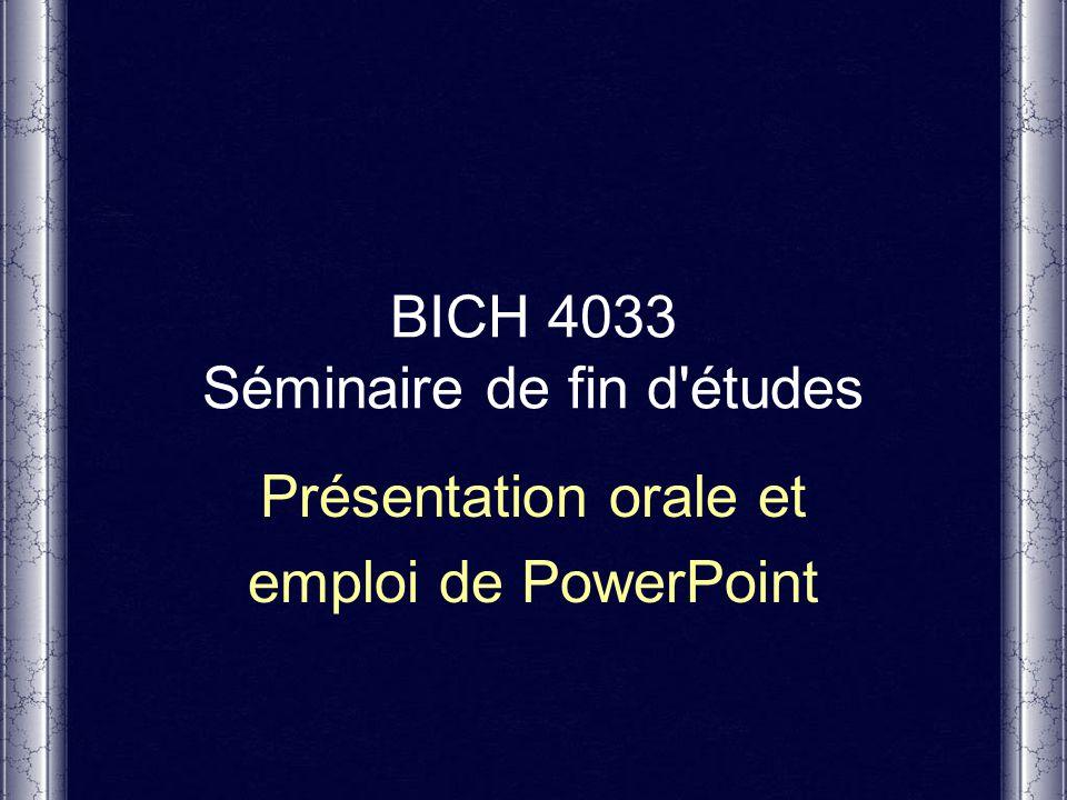 BICH 4033 Séminaire de fin d études