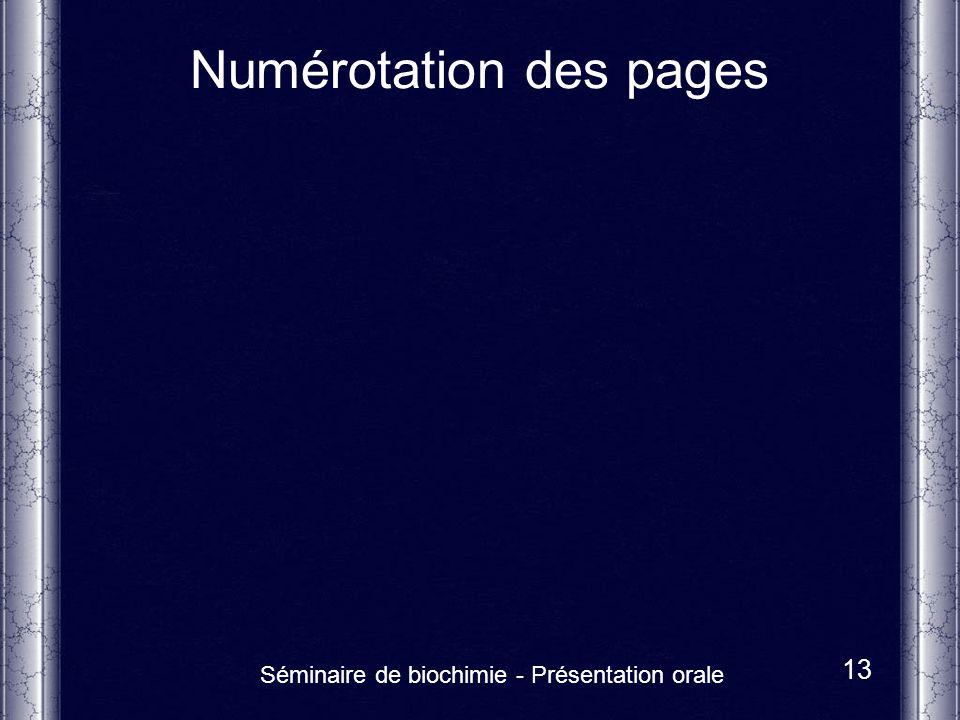 Numérotation des pages