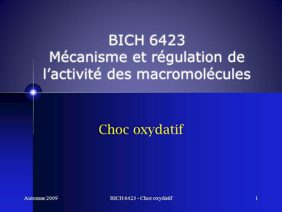 BICH 6423 Mécanisme et régulation de l'activité des macromolécules