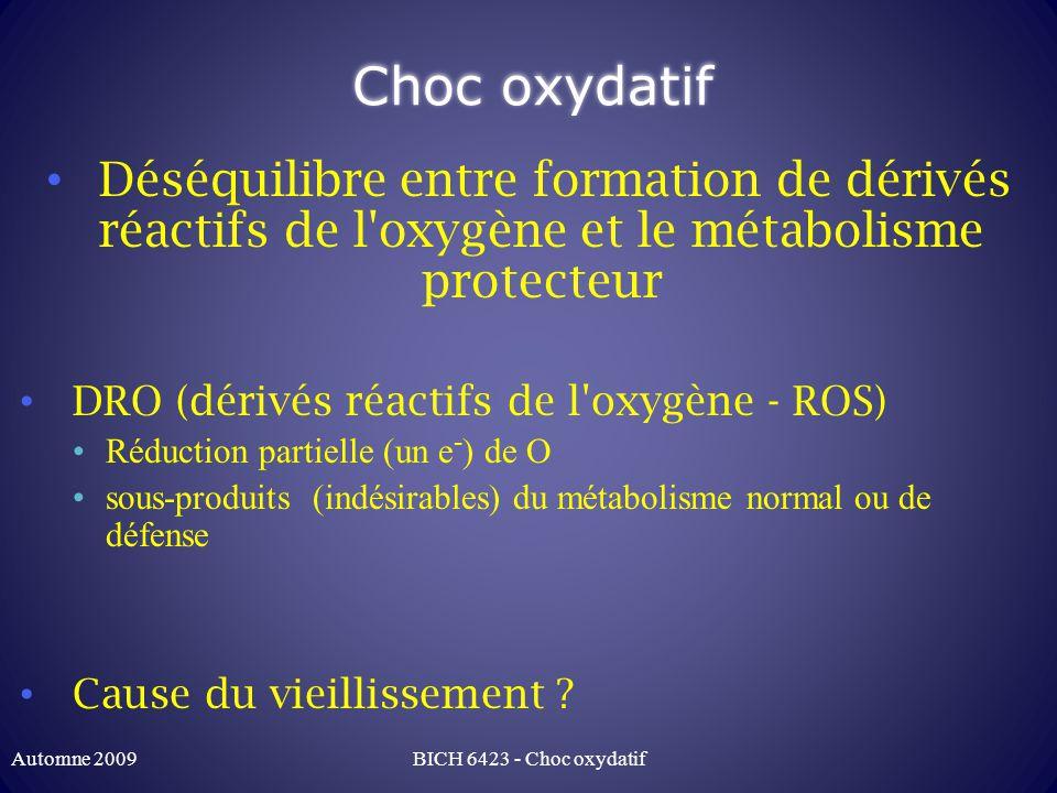 Choc oxydatif Déséquilibre entre formation de dérivés réactifs de l oxygène et le métabolisme protecteur.