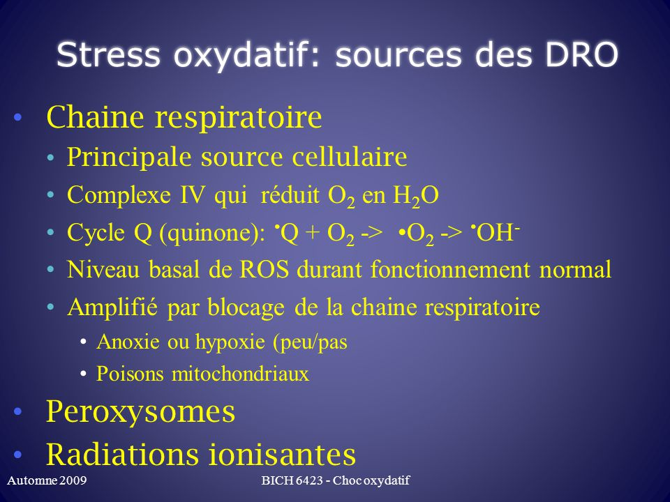 Stress oxydatif: sources des DRO