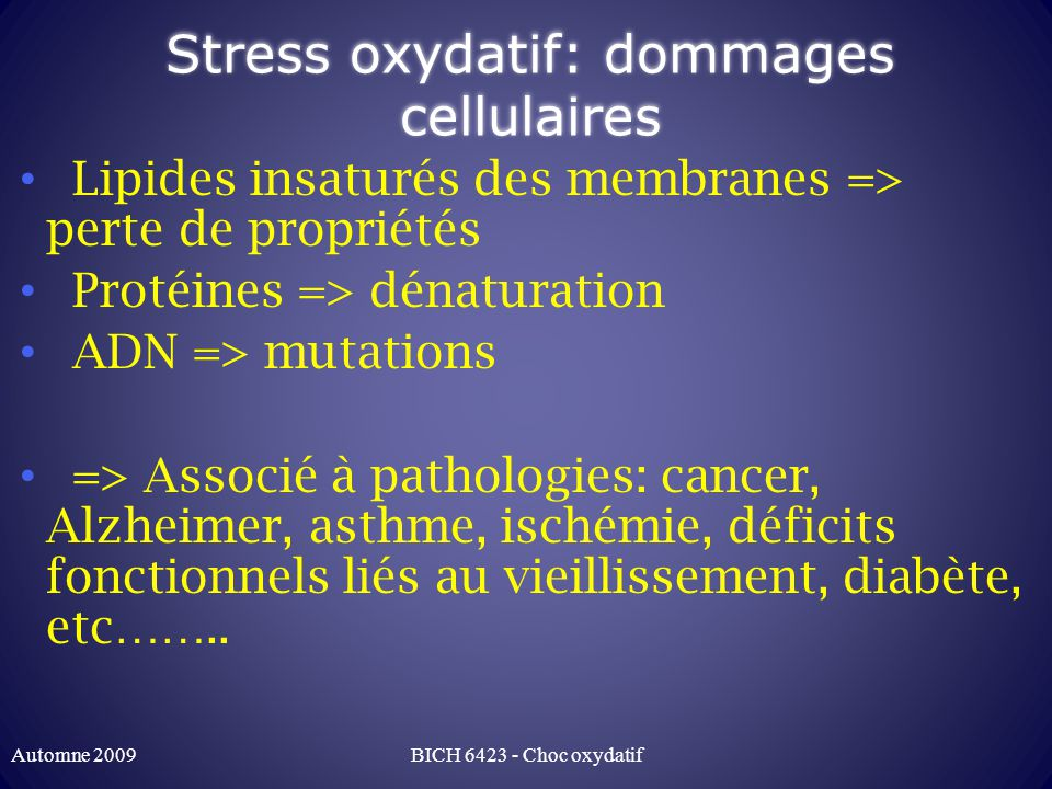 Stress oxydatif: dommages cellulaires