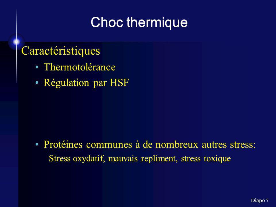 Choc thermique Caractéristiques Thermotolérance Régulation par HSF