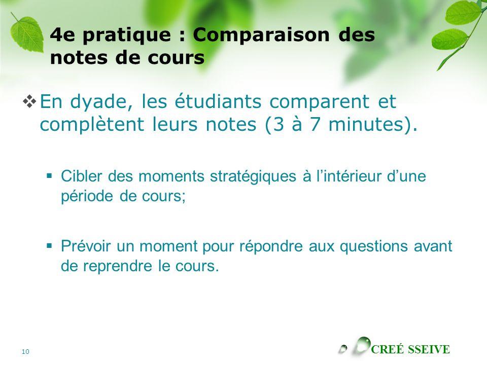 4e pratique : Comparaison des notes de cours