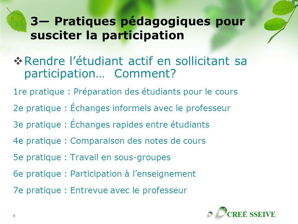 3— Pratiques pédagogiques pour susciter la participation