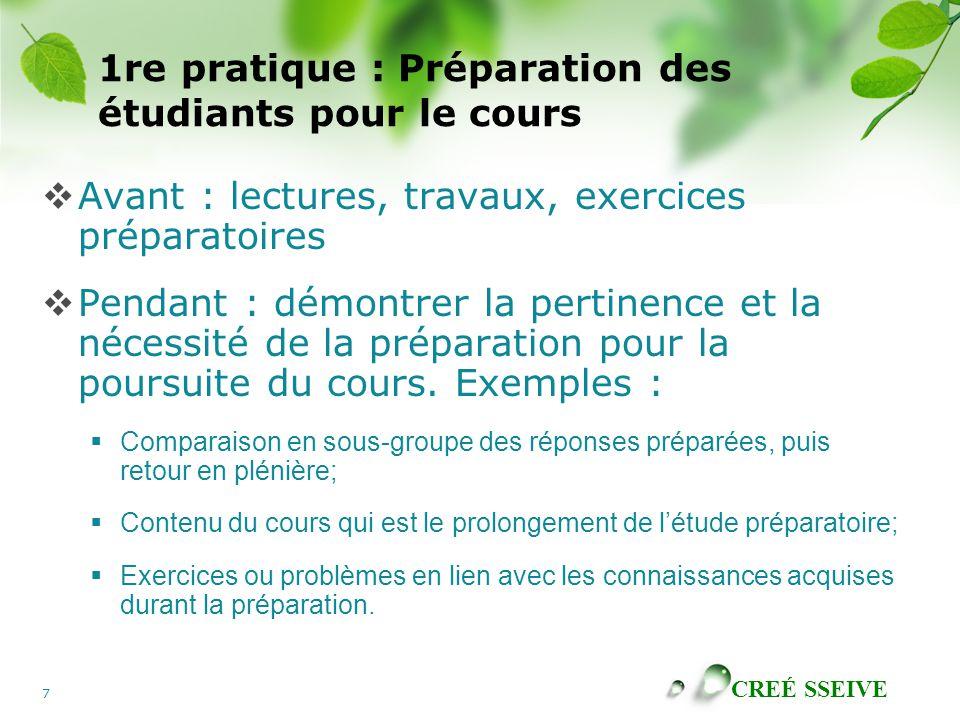 1re pratique : Préparation des étudiants pour le cours