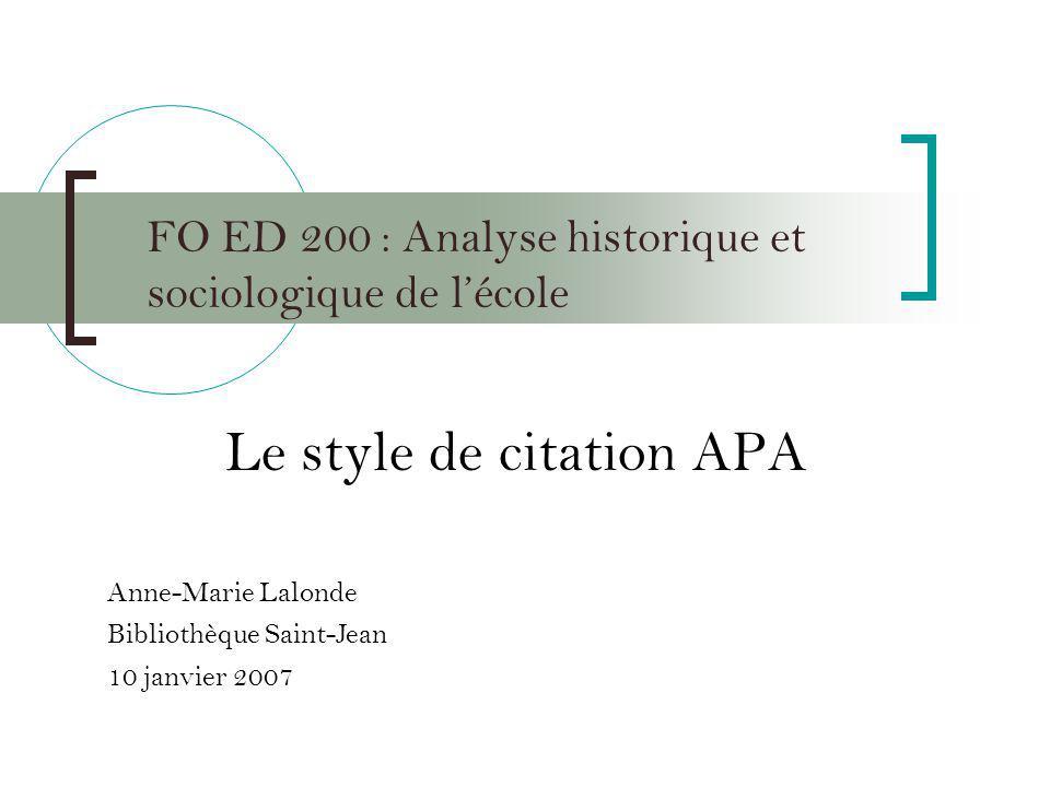 FO ED 200 : Analyse historique et sociologique de l'école