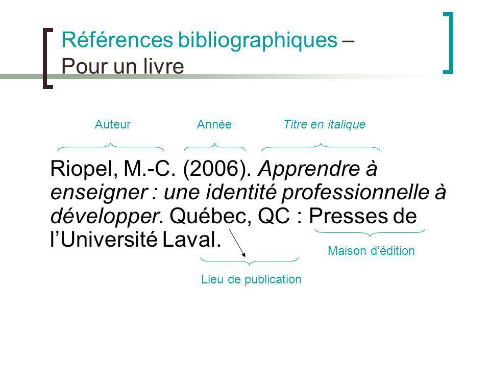 Références bibliographiques – Pour un livre