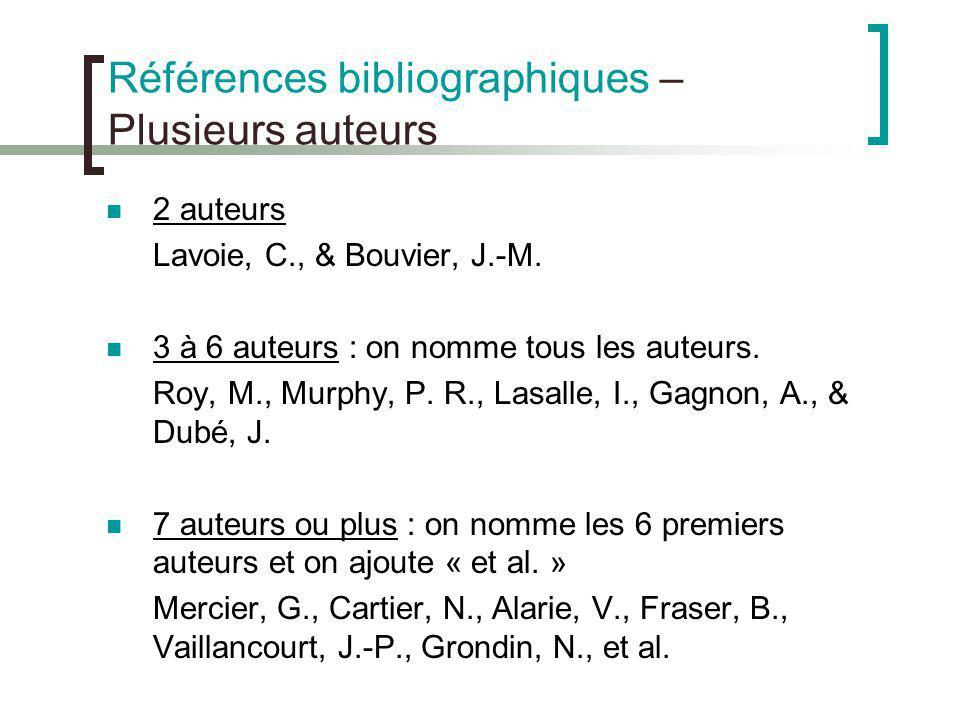 Références bibliographiques –Plusieurs auteurs
