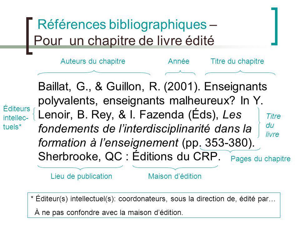 Références bibliographiques – Pour un chapitre de livre édité