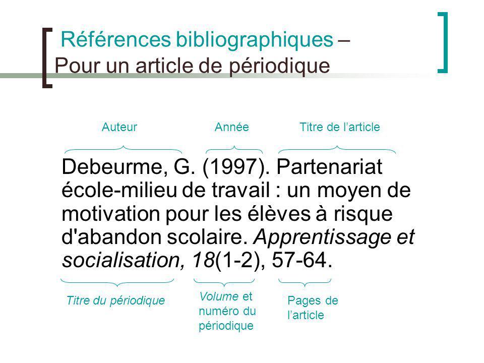 Références bibliographiques – Pour un article de périodique