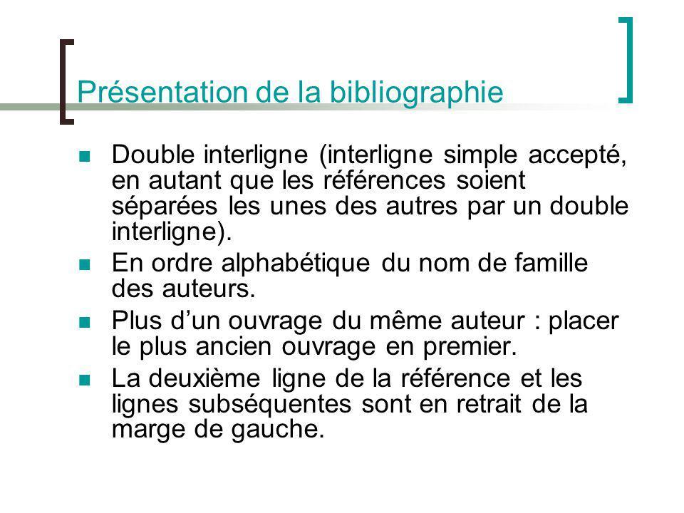 Présentation de la bibliographie