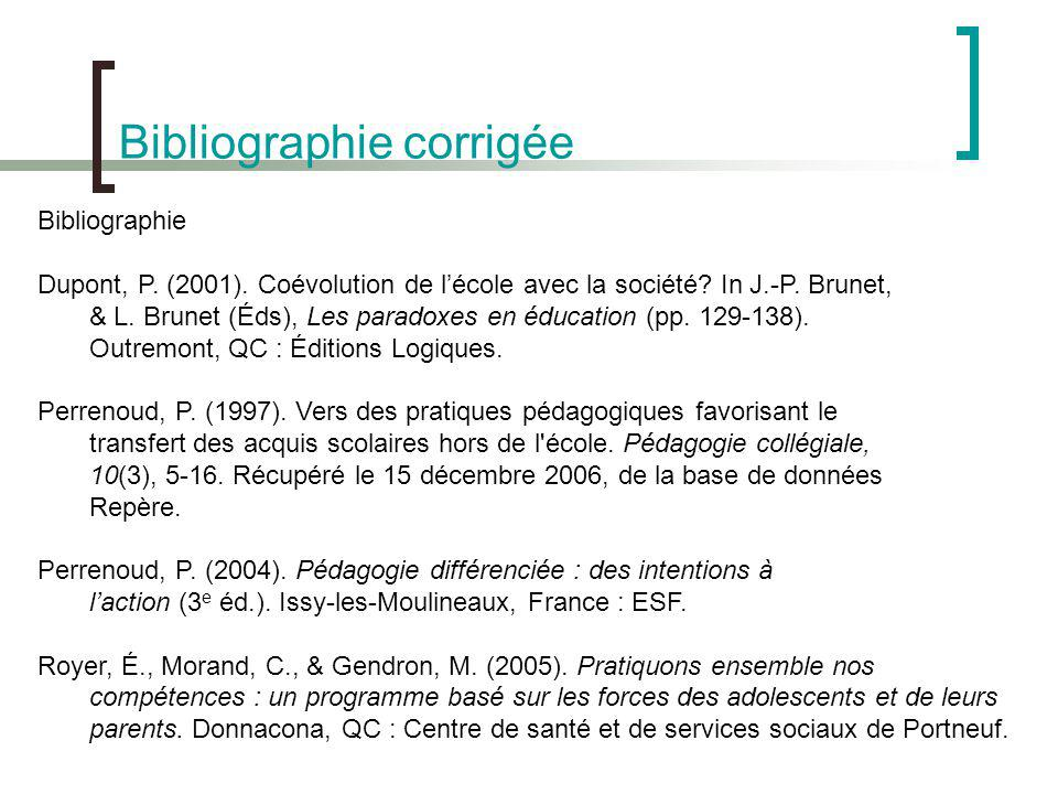 Bibliographie corrigée