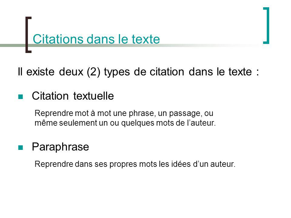 Citations dans le texte