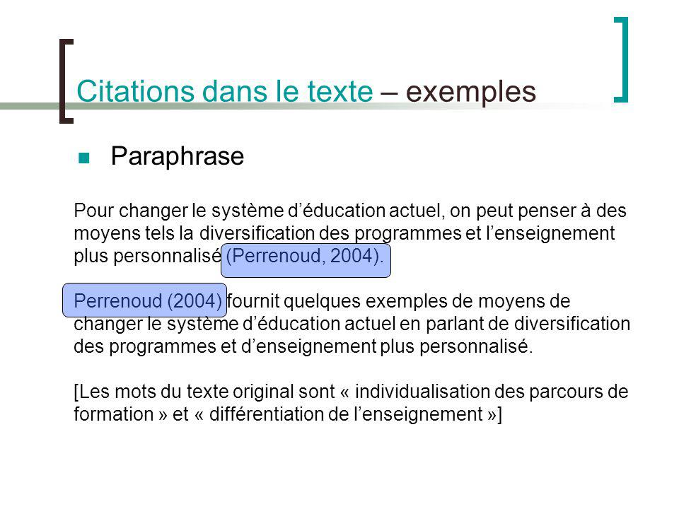 Citations dans le texte – exemples