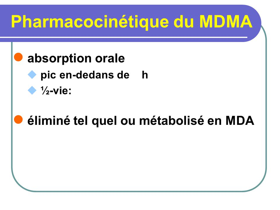 Pharmacocinétique du MDMA