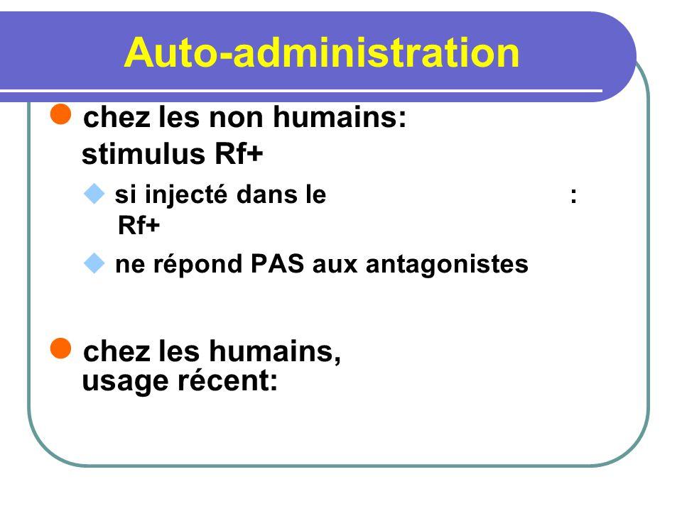 Auto-administration chez les non humains: stimulus Rf+