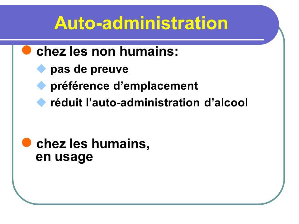 Auto-administration chez les non humains: chez les humains, en usage