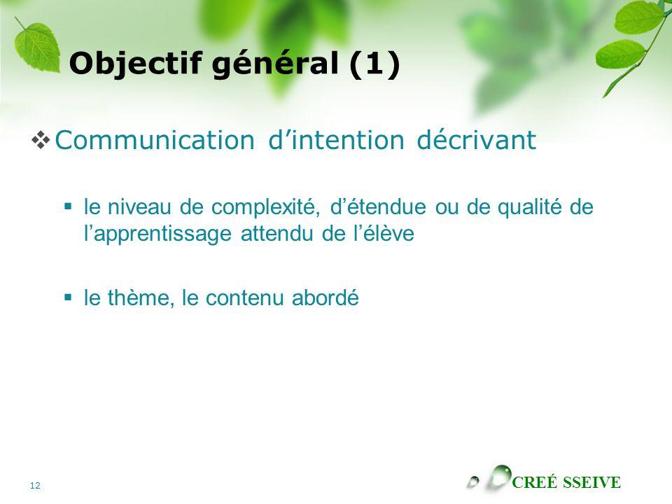 Objectif général (1) Communication d'intention décrivant