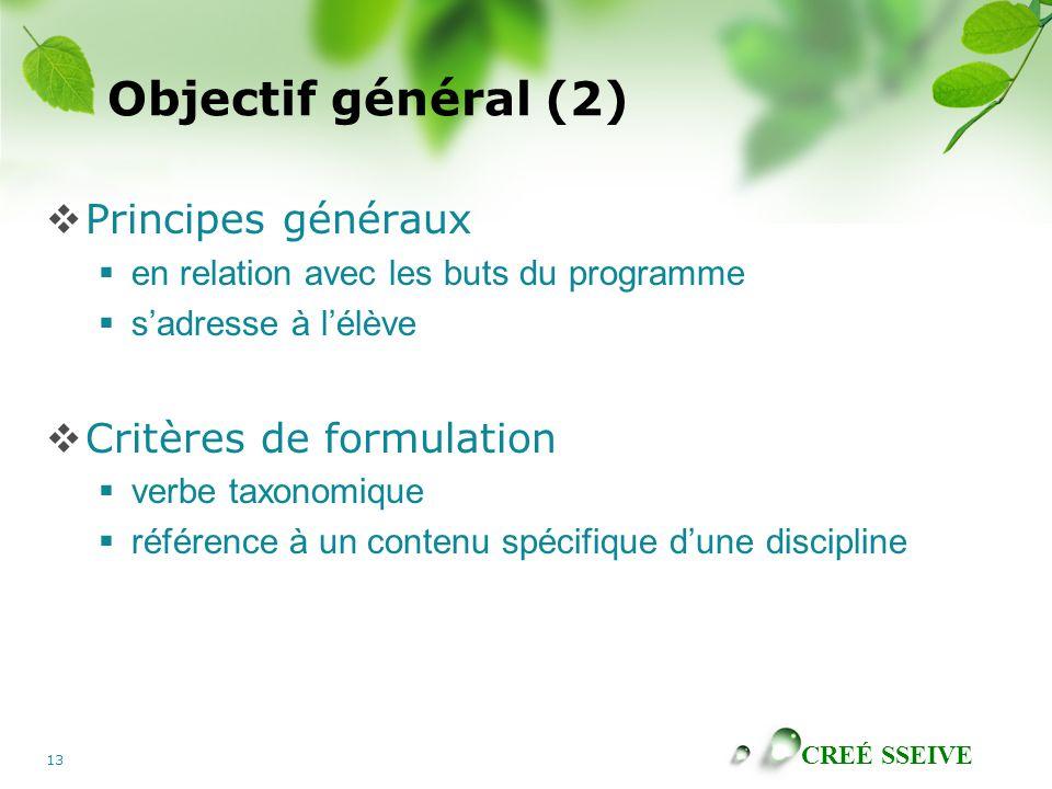 Objectif général (2) Principes généraux Critères de formulation