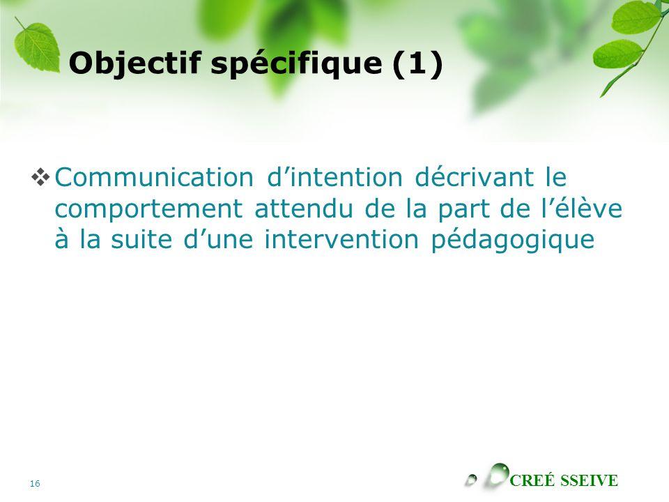 Objectif spécifique (1)