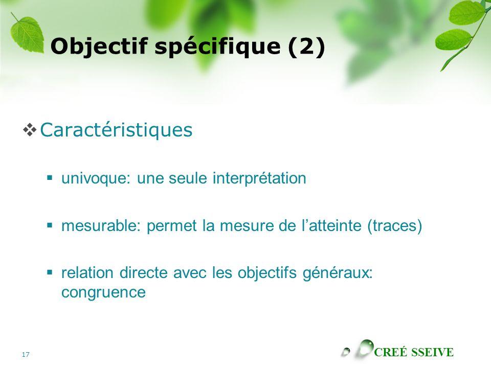 Objectif spécifique (2)