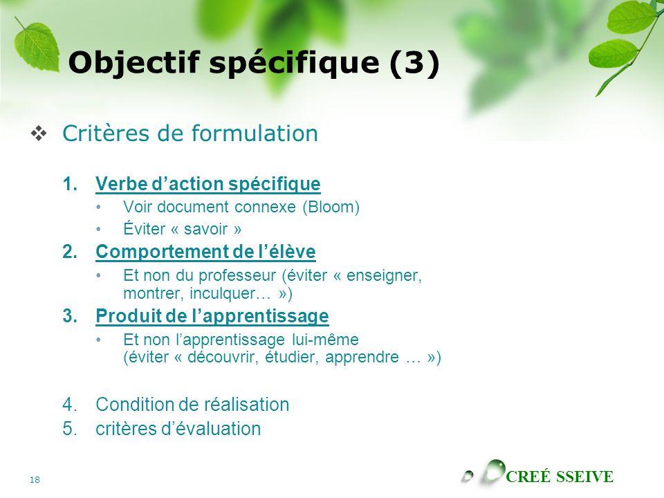 Objectif spécifique (3)