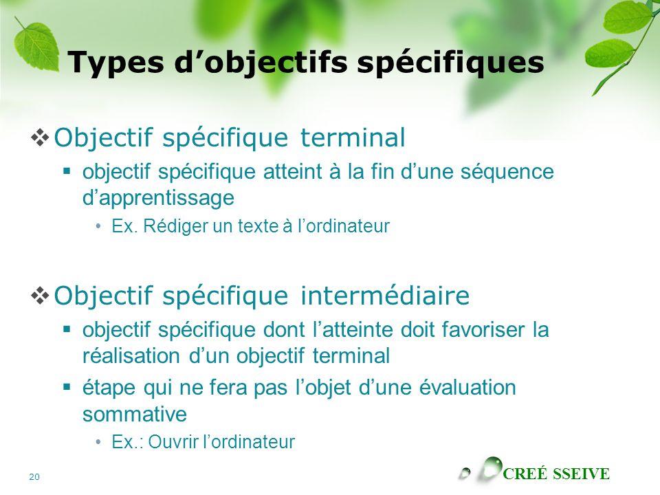 Types d'objectifs spécifiques