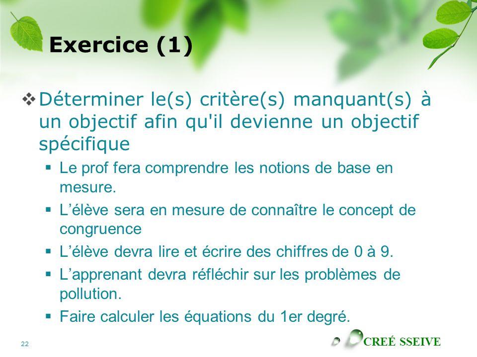 Exercice (1) Déterminer le(s) critère(s) manquant(s) à un objectif afin qu il devienne un objectif spécifique.
