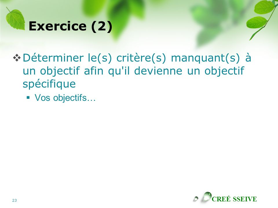 Exercice (2) Déterminer le(s) critère(s) manquant(s) à un objectif afin qu il devienne un objectif spécifique.