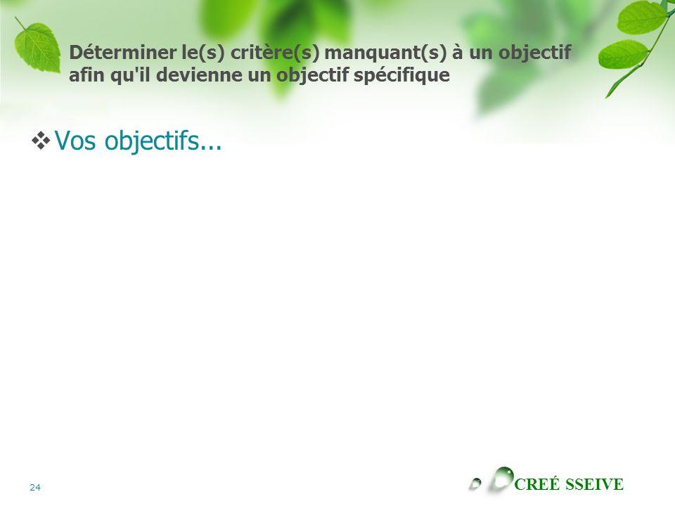 Déterminer le(s) critère(s) manquant(s) à un objectif afin qu il devienne un objectif spécifique