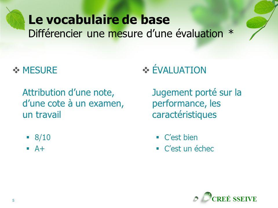 Le vocabulaire de base Différencier une mesure d'une évaluation *