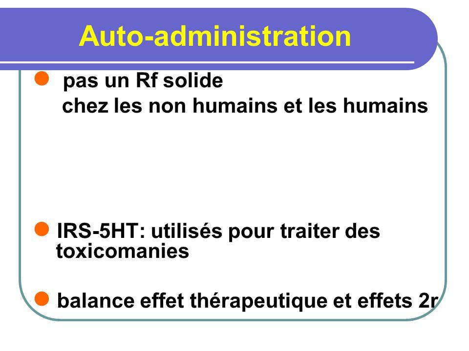 Auto-administration pas un Rf solide chez les non humains et les humains. IRS-5HT: utilisés pour traiter des toxicomanies.