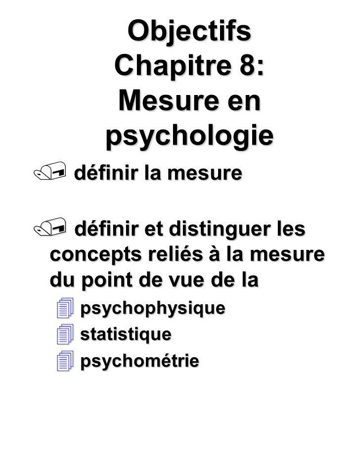 Objectifs Chapitre 8: Mesure en psychologie