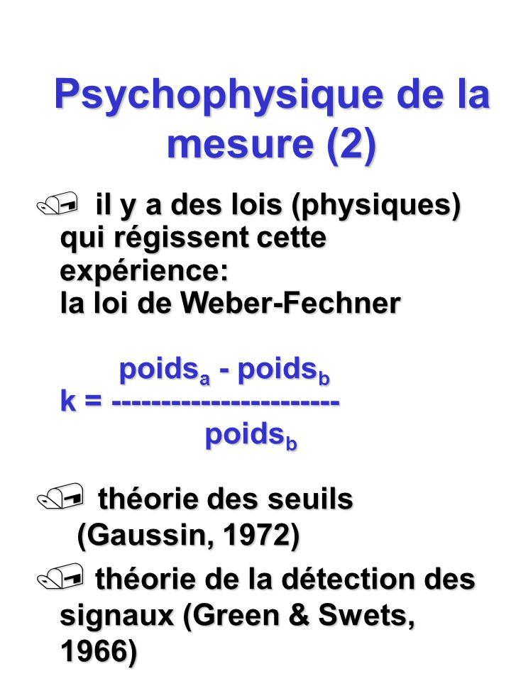 Psychophysique de la mesure (2)