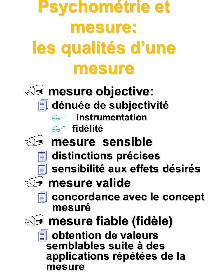 Psychométrie et mesure: les qualités d'une mesure