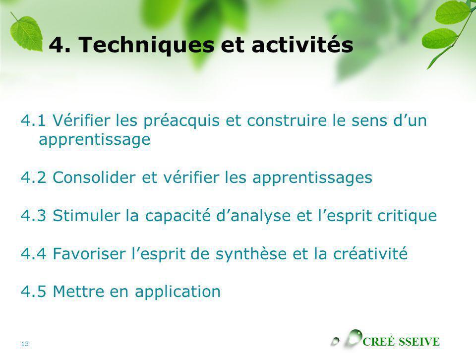 4. Techniques et activités