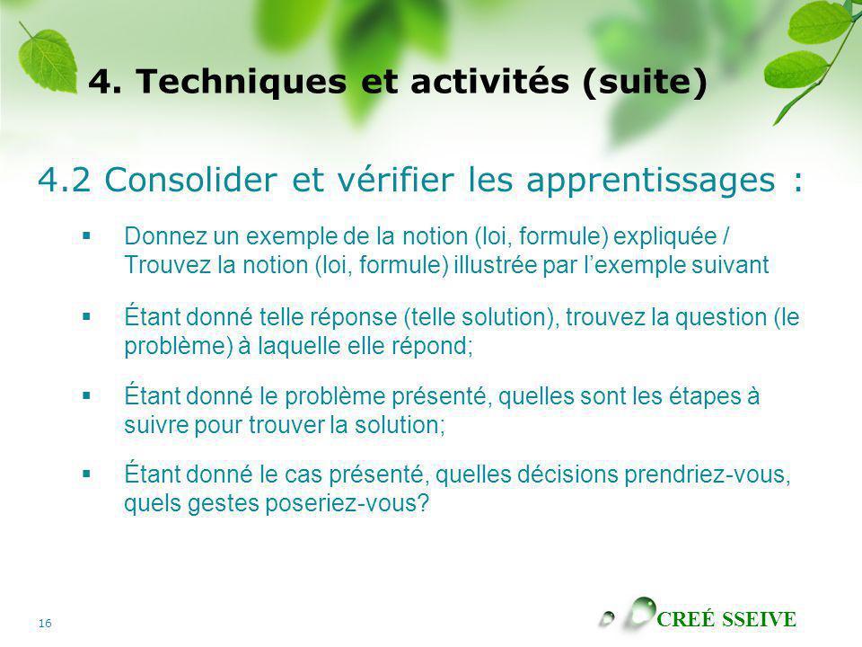4. Techniques et activités (suite)