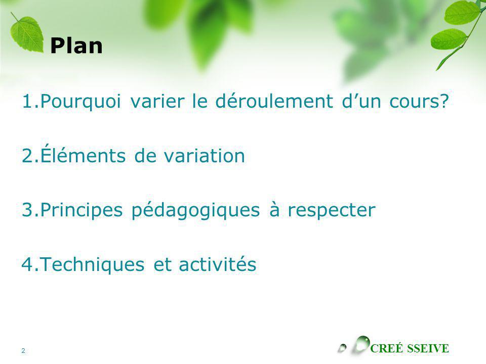 Plan 1.Pourquoi varier le déroulement d'un cours