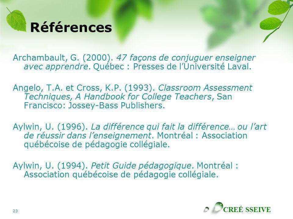 Références Archambault, G. (2000). 47 façons de conjuguer enseigner avec apprendre. Québec : Presses de l'Université Laval.