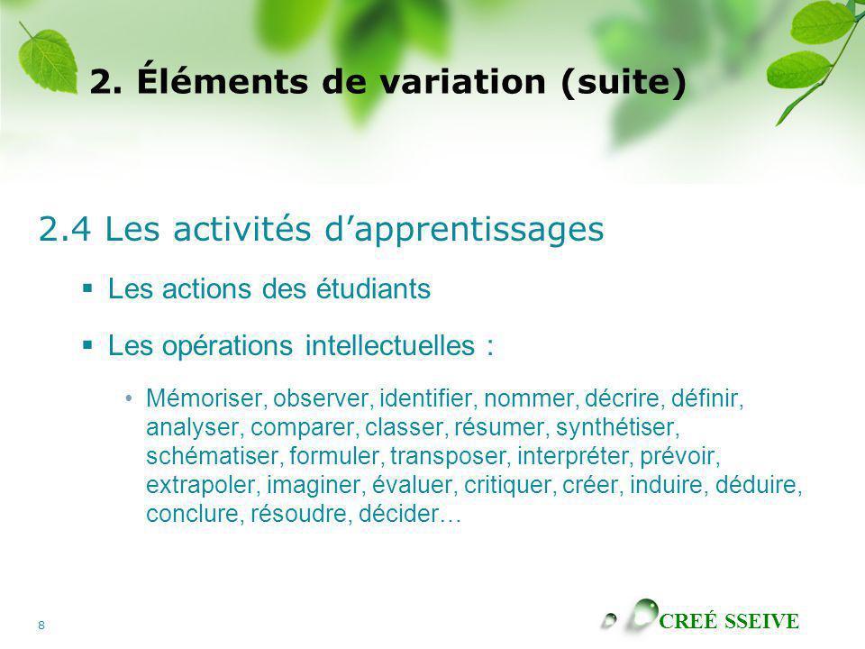 2. Éléments de variation (suite)