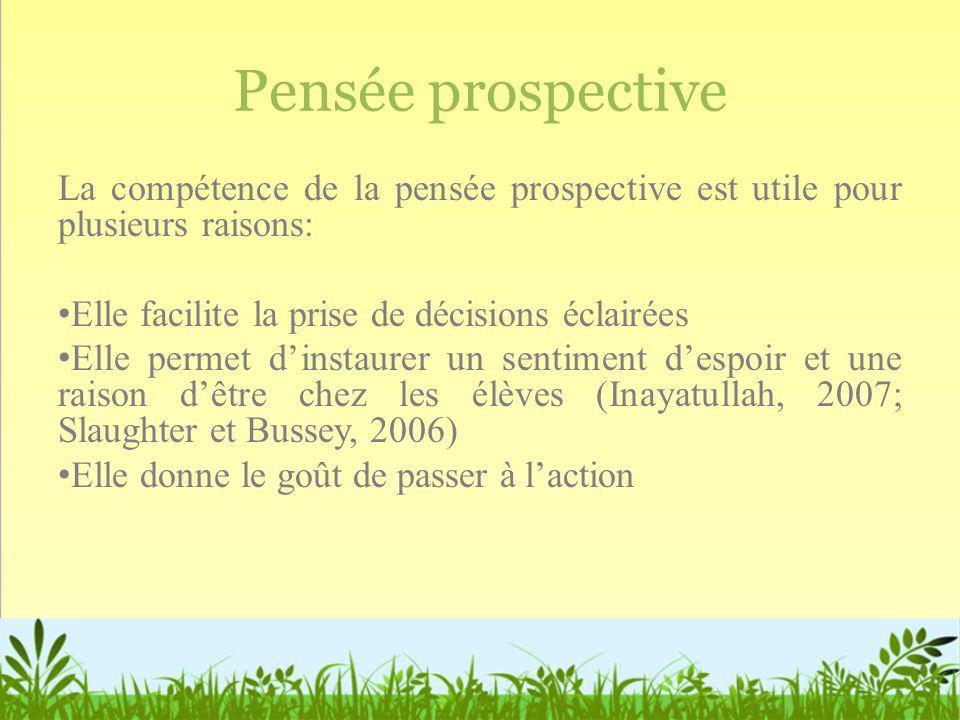 Pensée prospective La compétence de la pensée prospective est utile pour plusieurs raisons: Elle facilite la prise de décisions éclairées.