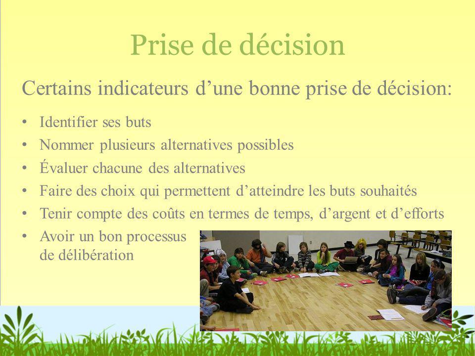 Prise de décision Certains indicateurs d'une bonne prise de décision: