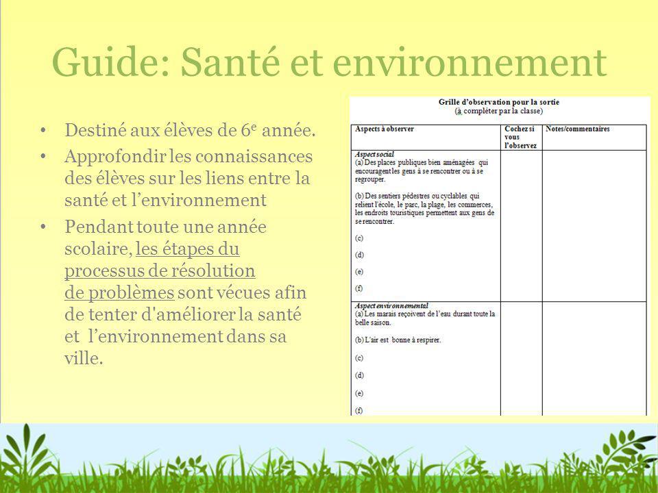 Guide: Santé et environnement
