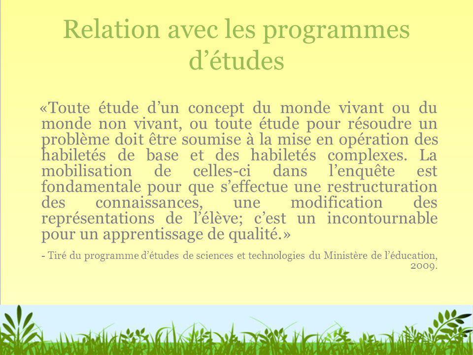 Relation avec les programmes d'études