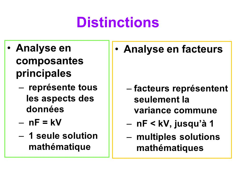 Distinctions Analyse en composantes principales Analyse en facteurs