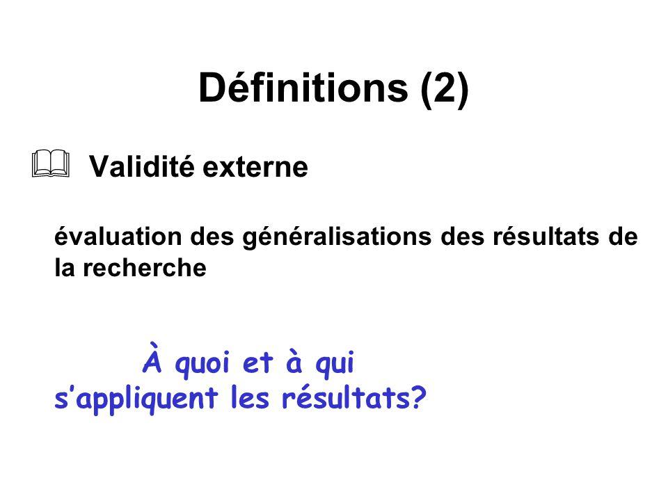 Définitions (2) Validité externe évaluation des généralisations des résultats de la recherche À quoi et à qui s'appliquent les résultats