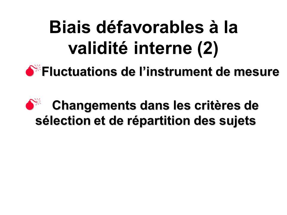 Biais défavorables à la validité interne (2)
