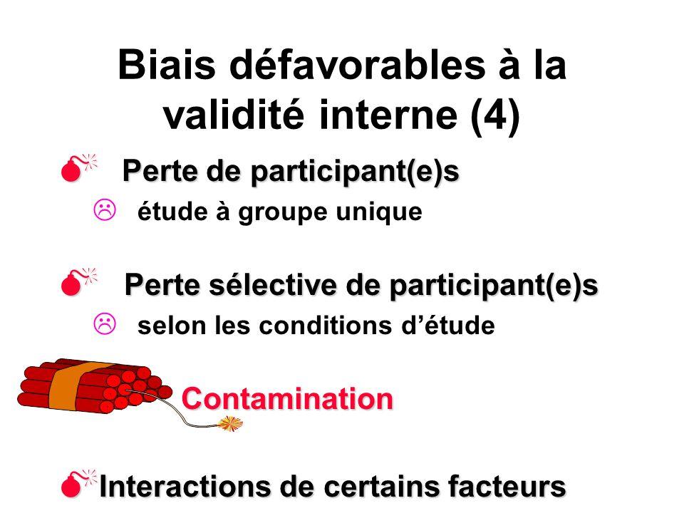 Biais défavorables à la validité interne (4)